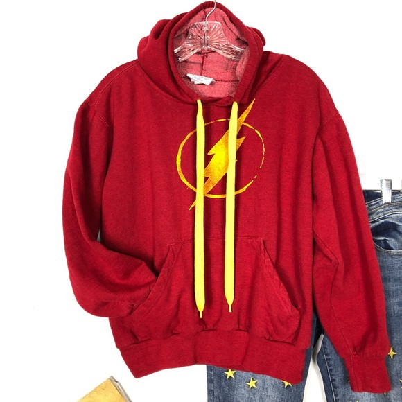 """six flags Tops - Red Hoodie and """"The Flash"""" Lightening Bolt Graphic"""
